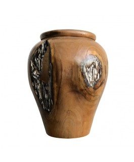 Jarre in Teak Wood Natural Black and White
