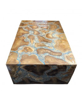 Rectangle Coffee Table in Teak Wood Pieces and Blue Resin