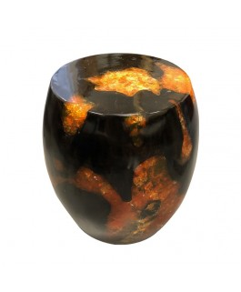 Stool in Black Teak Wood and Orange Resin