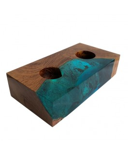 Rectangular Teak Wood and Blue Resin Candlestick