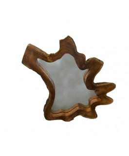Large Irregular Mirror in Teak Wood