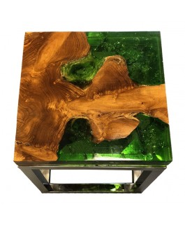 Square Stool in Teak and Green Resin and Metal Base