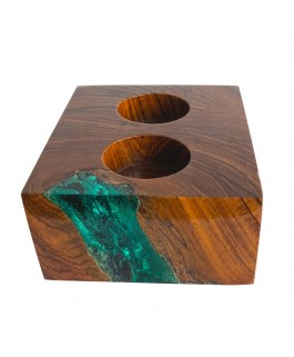 Rectangular Teak Wood and Green Resin Candlestick