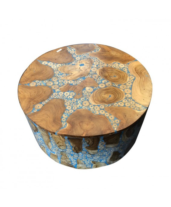 Round Coffee Table in Teak Wood and Blue Resin