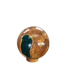 Ball in Teak Wood Natural and Green Resin