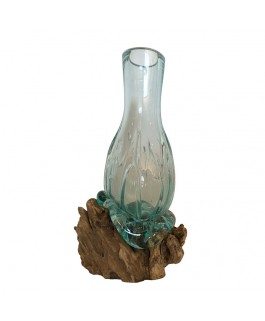 Design Blown Glass Vase On Teak Wood Base