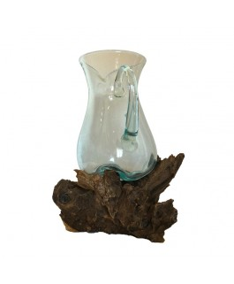 Glass Carafe Blown On Base In Solid Teak