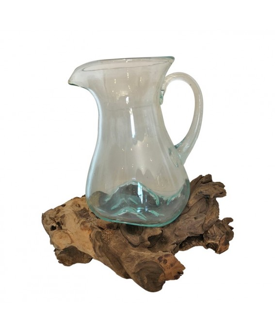 Glass Carafe Blown On Base In Natural Teak