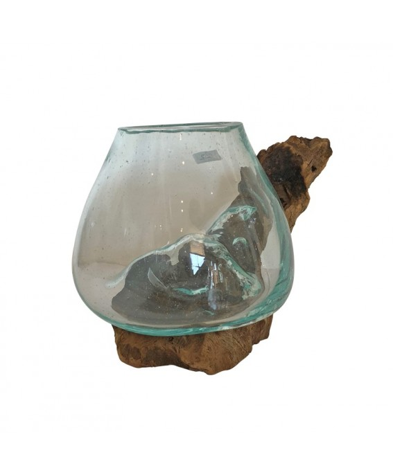 Small Aquarium in Tuffed Glass and Teak Wood Base