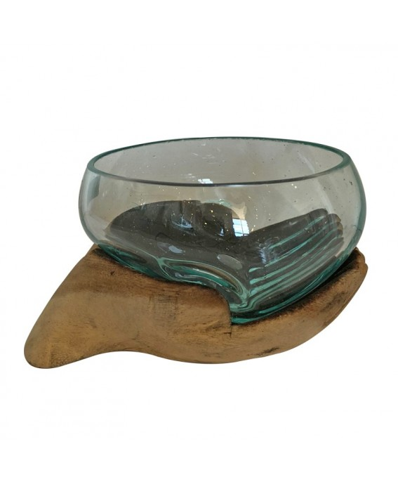 Blown Glass Aquarium and Base Hand Design Small