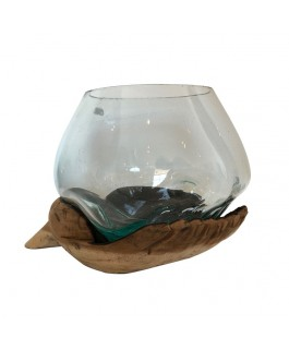 Aquarium en Verre Soufflé et Socle en Design Main Grand