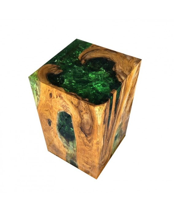 Rectangle Stool and Base in Teak and Green Resin