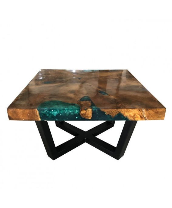 Square Coffee Table in Teak and Turquoise Resin