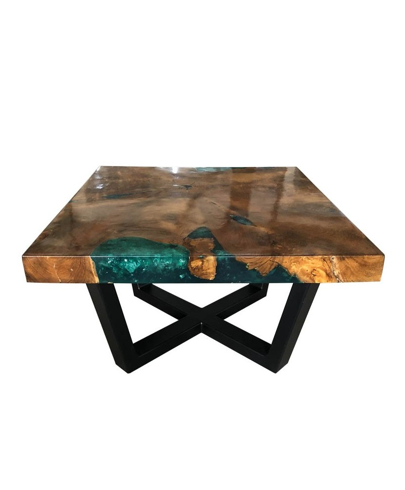 Coffee Table: Teak Wood And Turquoise Resin Coffee Table