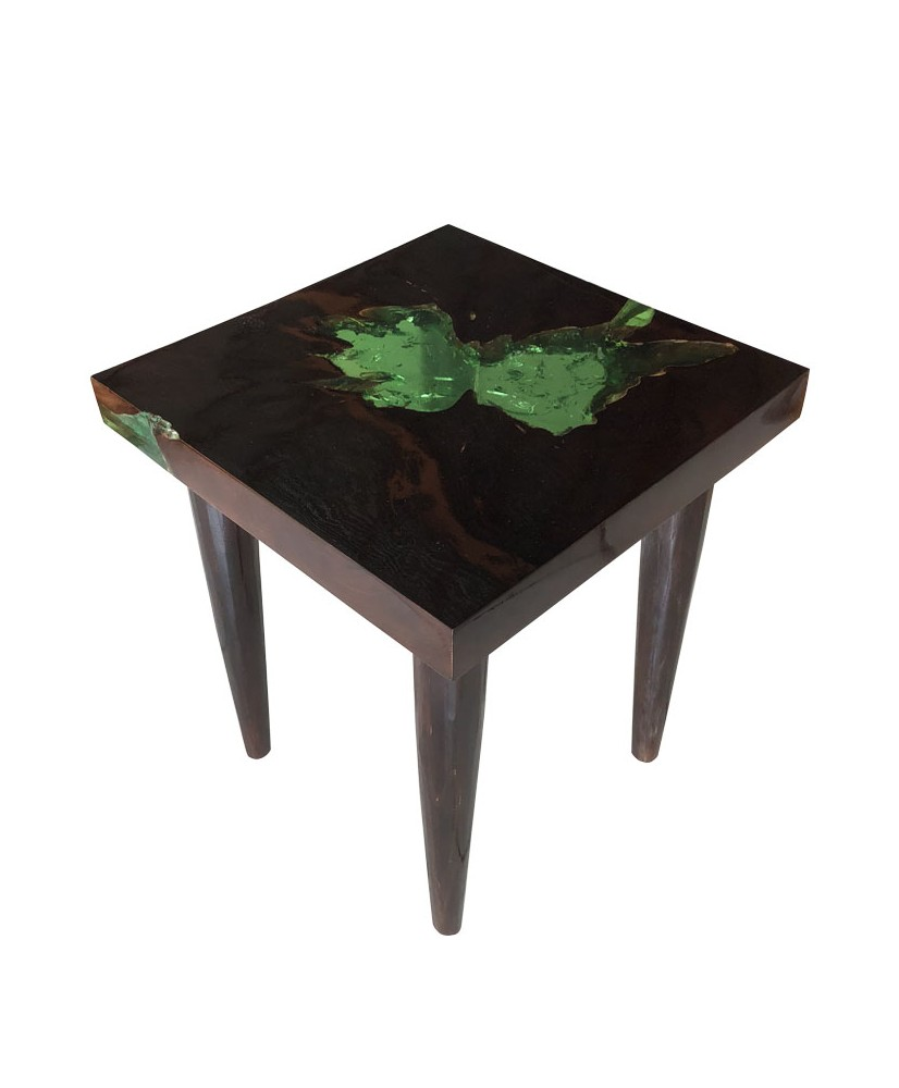 Furniture Coffee Table In Black Teak And Green Resin World S Art