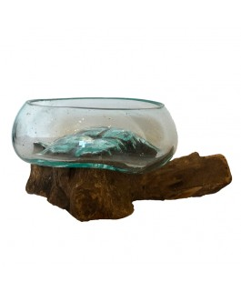 Teak Glass Aquarium and Natural Teak Wood Base