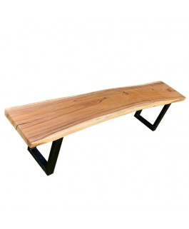 Suar Bench with Feet in Black Metal