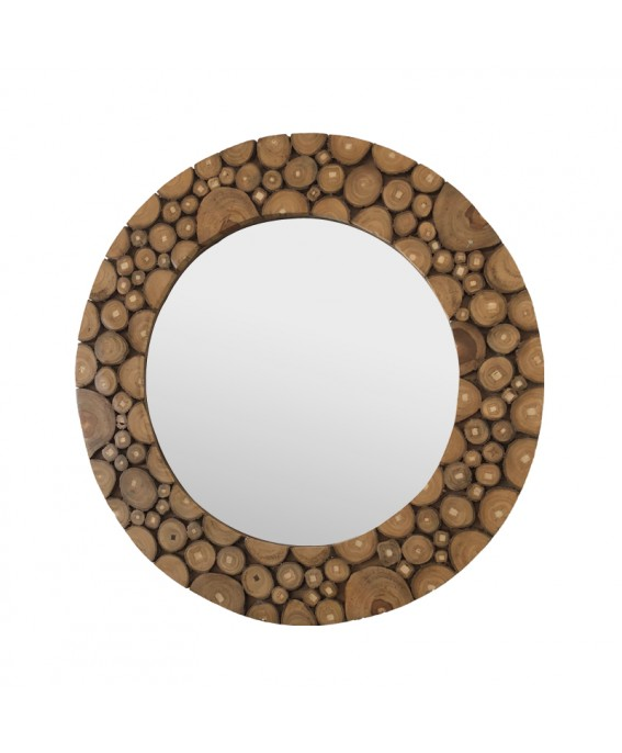 Round mirror In Piece of Varnished Teak Wood