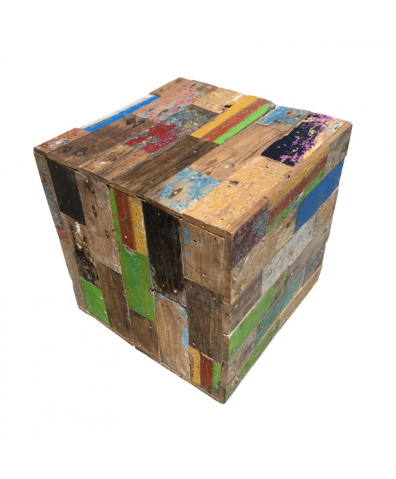Recycled Teak Wood Decorative Pouf