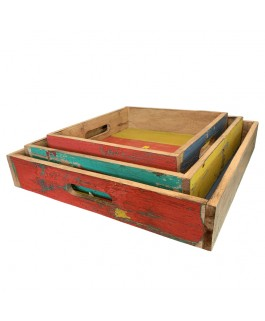 3 in 1 Recycled Wood Square Decorative Tray