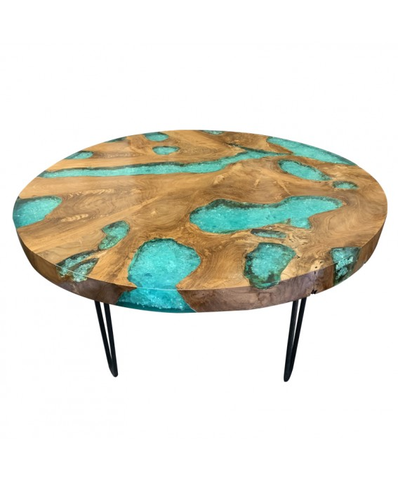 Coffee Table in Teak Wood and Turquoise Resin