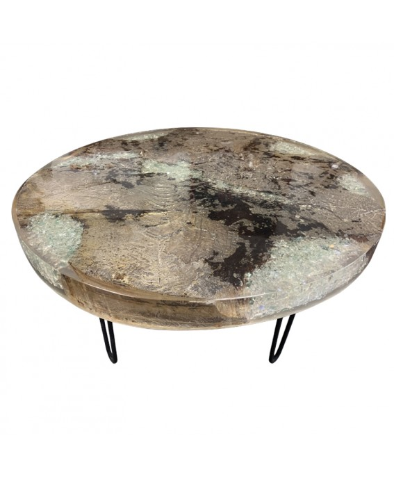 Coffee Table in Teak and Transparent-Gray Resin