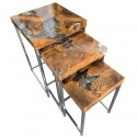Set of 3 Coffee Tables in Teak and Transparent Resin
