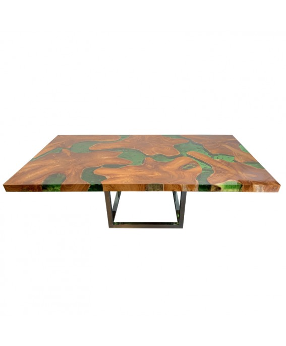Large Coffee Table in Teak and Green Resin