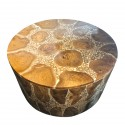 Round Coffee Table in Teak Pieces and White Resin