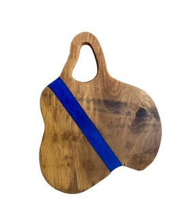 Teak and Blue Metal Resin Charcuterie Board