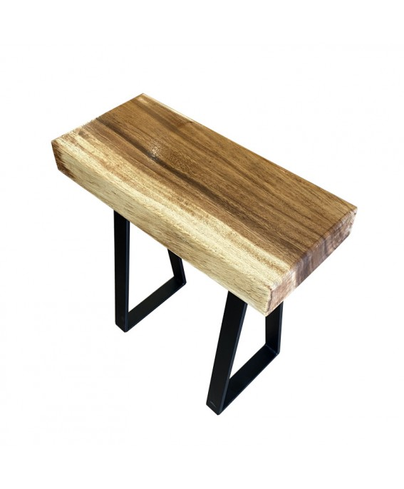 Suar Wood Stool with Black Metal Legs