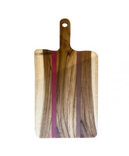 Suar Wood and Violet Resin Tray
