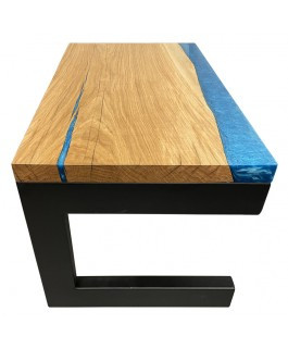 Coffee Table in Oak Wood and Blue Resin