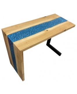 Office Table in Oak Wood and Blue Resin