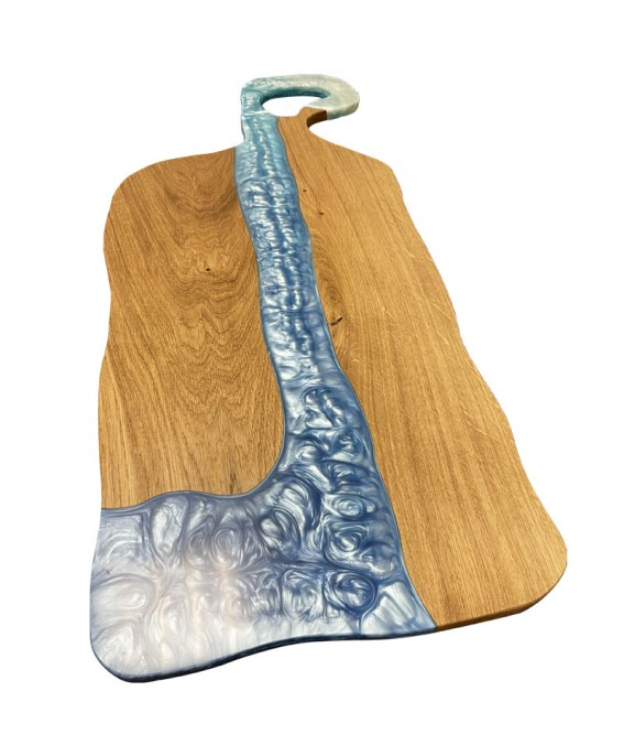 Giant Charcuterie Board in Oak and Blue Resin