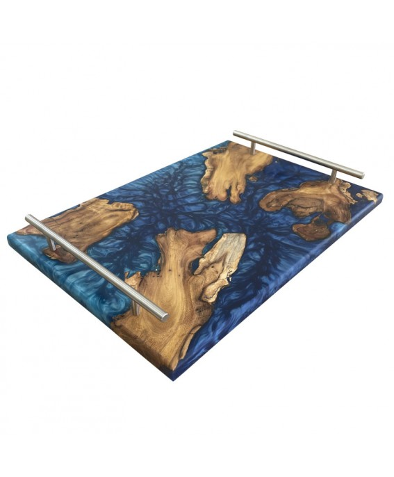 Olive Wood and Blue Resins Tray