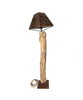 Unique Lamp in Walnut Wood and Steel Lampshade