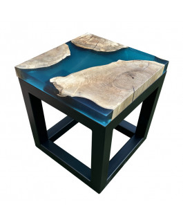 Square Walnut Wood and Turquoise Resin Coffee Table