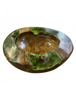 Decorative Bowl With Teck Wood and Green Resin